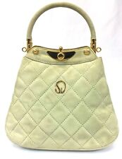 St. John Handbag Evening Bag Cream Quilted Suede Gold Metal Logo