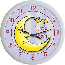 Moon & Stars Custom Personalized Wall Clock Nursery Child Celestial astronomy