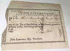 Rare Antique American Revolutionary War Soldier Signed Ct Promissory Note! 1785!