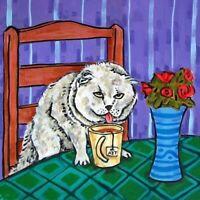 scottish fold cat coffee animal art tile coaster gift