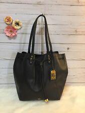 LAUREN RALPH LAUREN Black Drawstring Shoulder Tote Bag