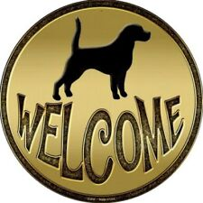 """Dog Welcome Sign 12"""" Round Novelty Metal Signs Home Front Door Hall Wall Decor"""
