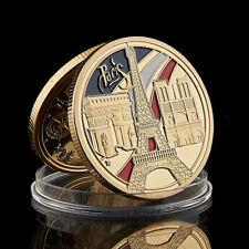 2020 France Paris Eiffel Tower Notre Dame Cathedral triumphal arch Gold Coin