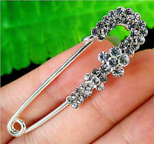50x13x9mm White Brooch With Diamond Inlay In Alloy Pin Pendant AP14699