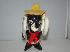 Vintage Japan Rare Black Leather Mousse with Yellow Hat Stuffed Animal 7""