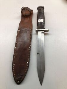 POST WWII~KUTMASTER(Buff Out On BLade) U.S. M3 TRENCH FIGHTING KNIFE LEATHERSCAB
