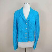Bloomingdales Size 16 Eyelet Cotton Jacket Blazer Aqua Blue