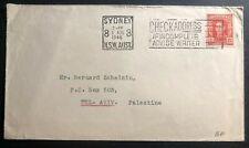 1946 Sydney Australia Slogan Cancel Cover to Tel Aviv Palestine