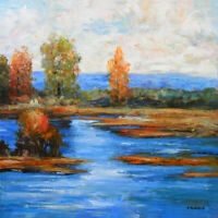 "Original Acrylic painting on Canvas Landscape Art. River Blu by Hunoz 30"" x 30"""