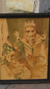 MAYORCE SCHILB 19c ORIGINAL MIX MEDIA PAINTING OF AN OLD QUEEN ON THRONE & CLOWN