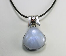 Sterling Silver Rainbow Moonstone Pendant Necklace