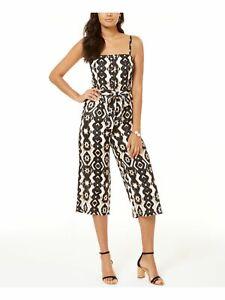 INC $100 Womens New 0283 Black Printed Square Neck Casual Jumpsuit XS B+B