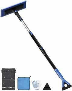 47'' S-Type Snow Broom, Extendable Snow Brush with Foam Handle, 270° Rotatable