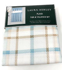 Laura Ashley White Blue Brown Plaid Tier & Valance Set