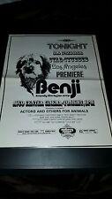 Benji Rare Original Los Angeles Premiere Promo Poster Ad Framed!