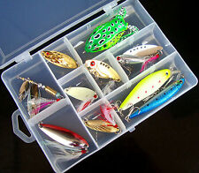 10PCS Fish Spoon Lure Feather Hook Minnow Fishing Soft Frog Bait box Mix set