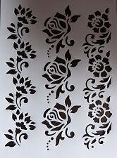 Plastica/Stencil/bordo/Rosa/Fiore/PITTURA/ARTE/si prega di leggere la descrizione