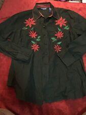 KAREN SCOTT SPORT Women's Long Sleeve Christmas Holiday Blouse Top Size 1X