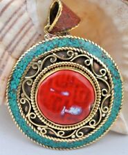 Tibetan Handmade Turquoise and Coral Pendants in Brass settings