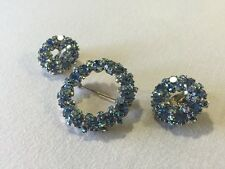 Weiss Signed Parure Brooch Clip On Earrings Rhinestone Aura Borealis Silver Meta