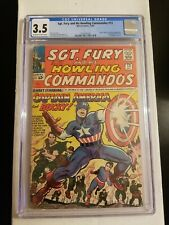 SGT FURY AND HIS HOWLING COMMANDOS #13 CGC 3.5- KEY 1st MEETING CAPTAIN AMERICA-