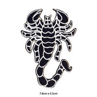 Scorpion Black Bikers Embroidered Patch Iron on Sew On Badge For Clothes etc