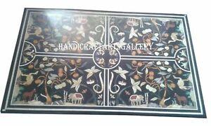 Black Marble Dining Table Top Floral Handmade Hallway Decoratives Arts H946