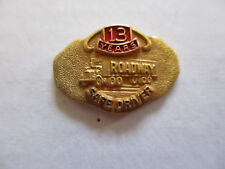 vintage Roadway 13yr Trucker Trucking Safety Award Safe Driving Pin