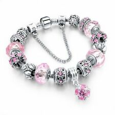NEW European Charm Bracelet/Bangle PINK Crystal/Bead Chain~Huge Fashion Trend