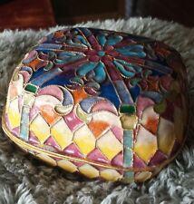 Vintage Cloisonne Enamel & Gilt Metal Floral Trinket Box