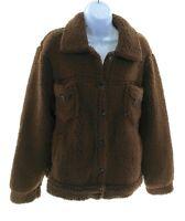 Sabrina Lauren Womens Brown Faux Fur Coat Winter Casual Size Large