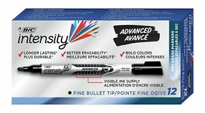 BIC Dry Erase Black Markers Intensity Advanced Fine Bullet Tip - 12 Count
