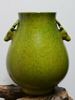 Old Chinese Apple Green Crackle Glaze  PORCELAIN Double Ear Vase
