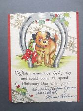 VINTAGE Christmas Greetings Card Puppy Dog Lucky Horseshoe Holly Wreath