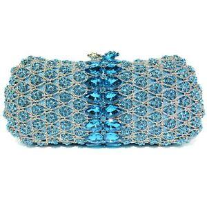 WOMEN Luxury Evening Bag HARD SHELL blue Crystal-Embellished Evening Clutch