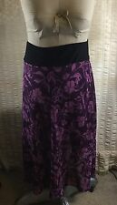 PLUS SIZE 2X FLOWERED Purple Chiffon Lined Skirt Black Stretchy Waist {A}