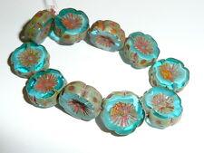 Wonderful Czech Glass Hawaiian Flower Beads Capri Blue Picasso Finish 14mm