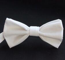 Bow Tie. UK Made. White Cotton. Premium Quality. Pre-Tied.