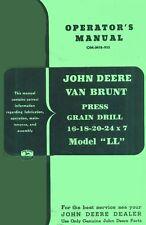 John Deere Vanbrunt Grain Drill Ll Operators Manual