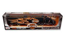 HARLEY DAVIDSON CUSTOM HAULER TRAILER BLACK 1/64 DIECAST MODEL BY MAISTO 11516