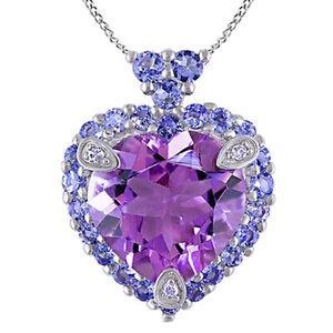 Amethyst,Tanzanite & Diamond Love Heart Pendant Necklace 10K Solid White Gold