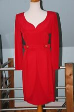 VINTAGE 80'S ALBERT NIPON RED COCKTAIL DRESS - BOWS - LONG SLEEVE TULIP SKIRT4