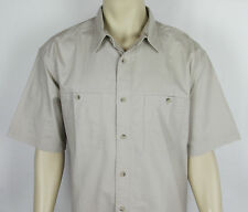 NWT Mens Woolrich Harbor Shirt short sleeve safari Camp button front Beige XL