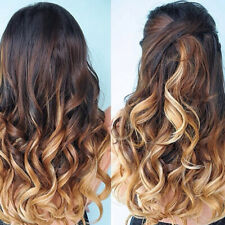 "Two Tone Ombre High Grade Brown Curly Hair 7Piece 16Clips 24"" Hair Extension 02"