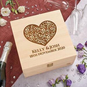 Personalised Solid Pine Wooden Keepsake Memory Box - Floral Heart -