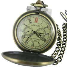Luxury Sub-dials Mechanical Pocket Watch Hand Winding Bronze Vintage Retro Gifts