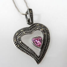 """Sterling Silver HEART Pink Stone Marcasite Necklace Pendant 16"""""""