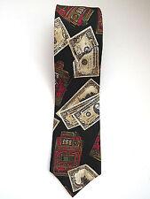 Vintage Gambling Necktie by Halston III  Slot Machines 100 Dollar Bills Silk Tie