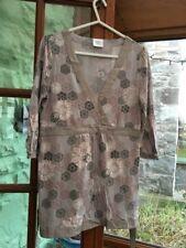 Next Petite: Size 12, Beige & Brown  Pattern, Kaftan / Top, Tie Back, Cotton VGC