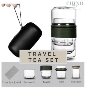 Travel Bag Chinese Tea set gaiwan teapot teacups Glass fair mug tea